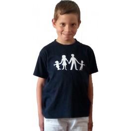 T-shirt bleu logo blanc
