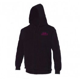 Sweat zip bleu logo rose